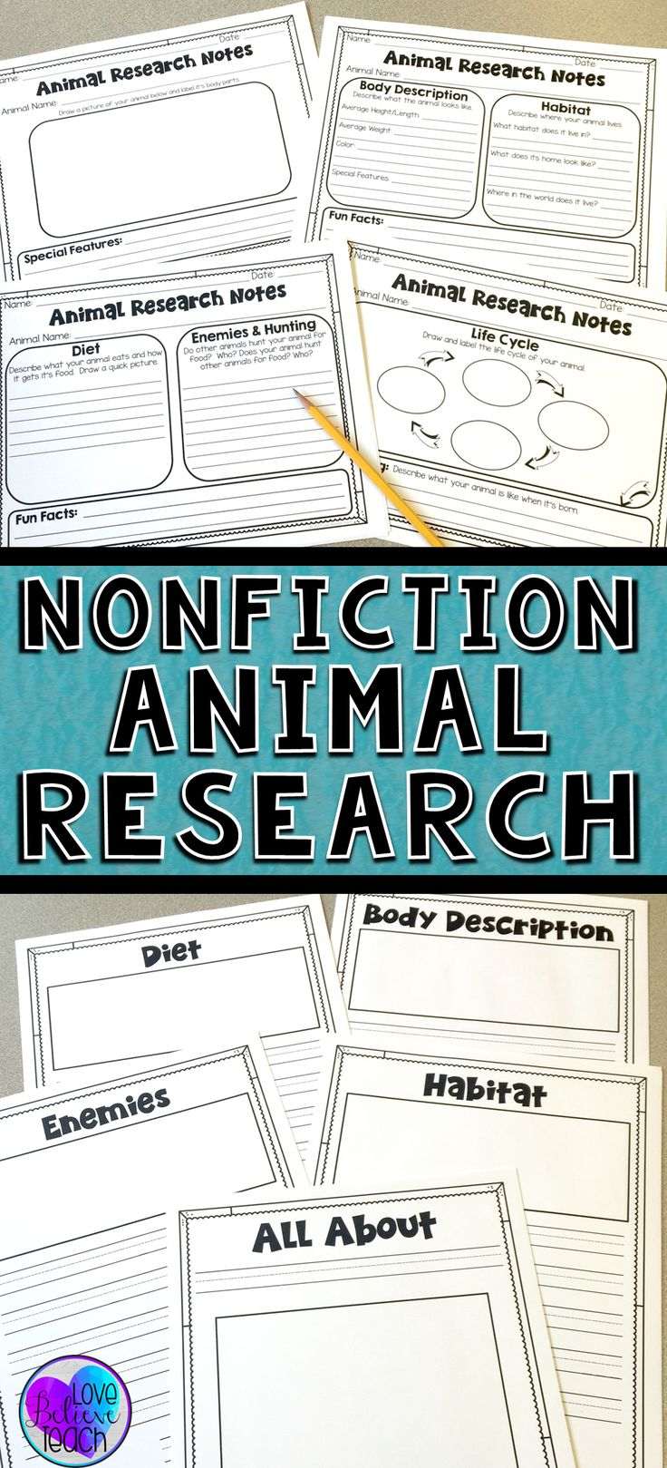 "Animal research reports are a snap to plan and implement with this writing unit.  The nonfiction unit is full of graphic organizers, a step-by-step guide, and many options to help you differentiate materials to meet the needs of your students.  It's a perfect ""All About"" project and your students will love working on it during Writing Workshop.  Click to find out more!"
