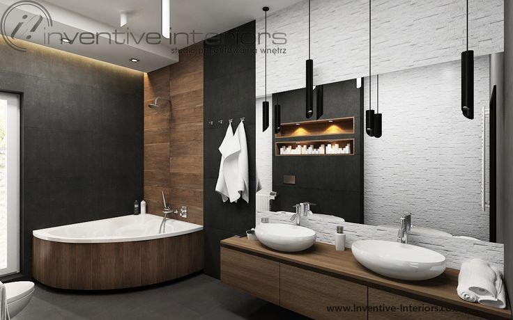 Projekt łazienki Inventive Interiors - struktura białego kamienia połączona z czernią i drewnem