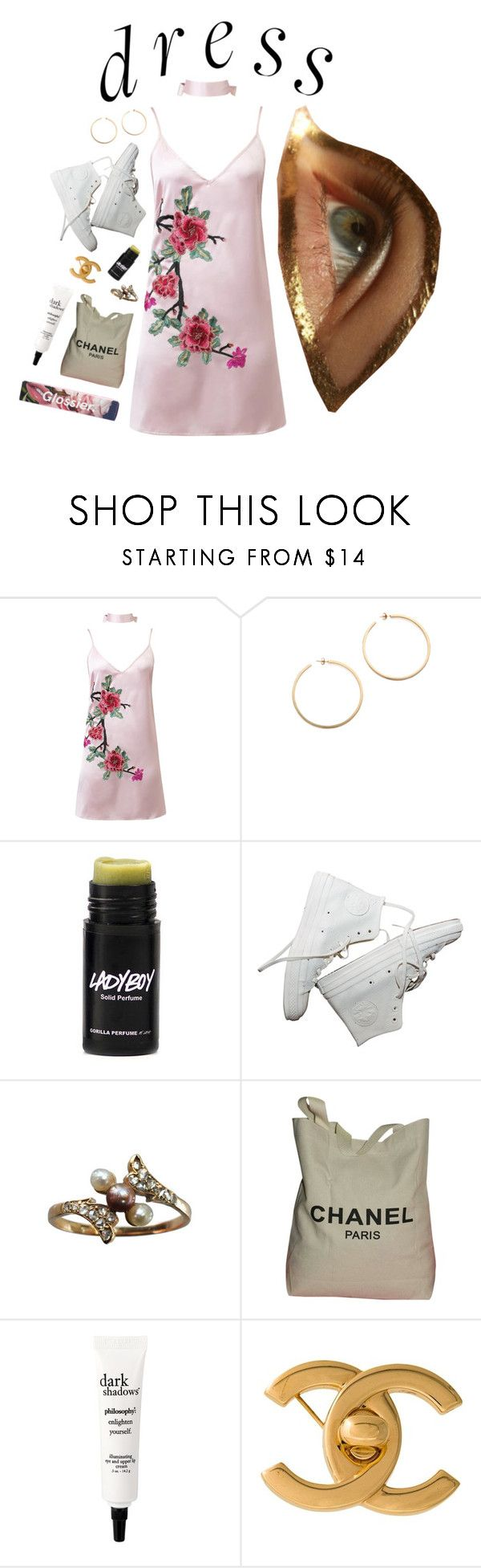 """choker dress."" by litewashdenim ❤ liked on Polyvore featuring WithChic, Kristen Elspeth, Ladyboy, Chanel and philosophy"
