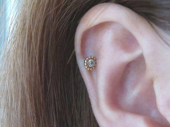 14K or massif piercing/Tiny CZ Piercing/Helix piercing cartilage boucle d'oreille/Tragus piercing/Piercing de l'oreille délicate piercing/Daith piercing/CZ