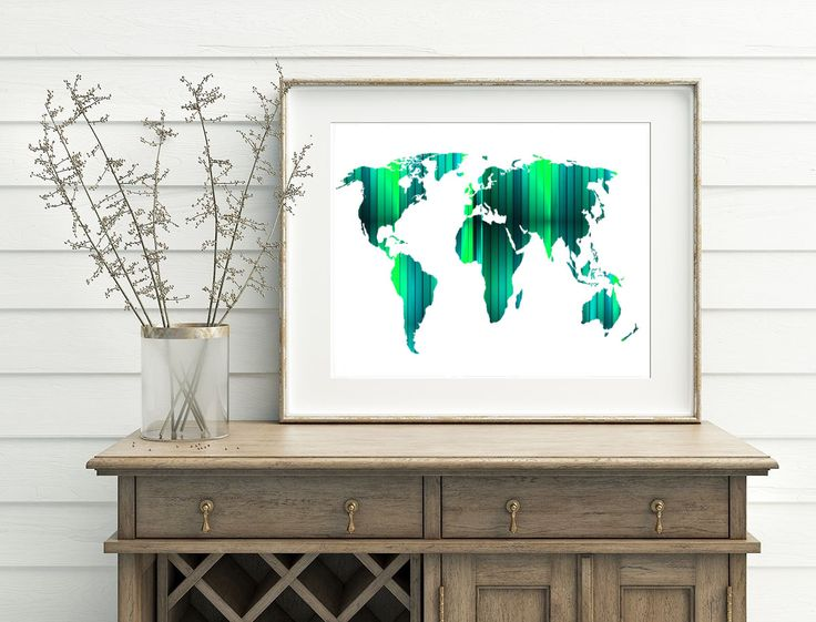 Green World Poster- Printable World Map, Digital World Map Art, Green World Map, Modern World Art, Instant File, Download Map Art by WatercolorArtHut on Etsy