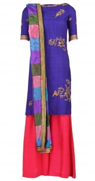 Pink and purple kurta set with farshi pyjma and multicolored dupatta by TISHA SAKSENA   Rs. 31,500