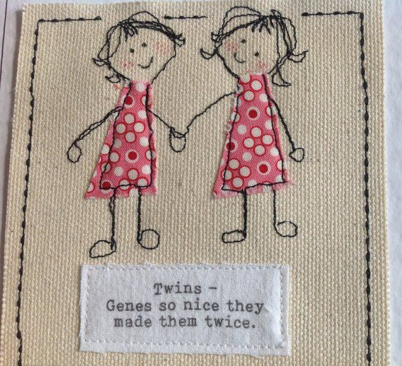 Sewn Twin Birthday Card Your Words Can Be Printed Top Etsy Sister Birthday Card Diy Birthday Gifts For Sister Birthday Wishes For Twins