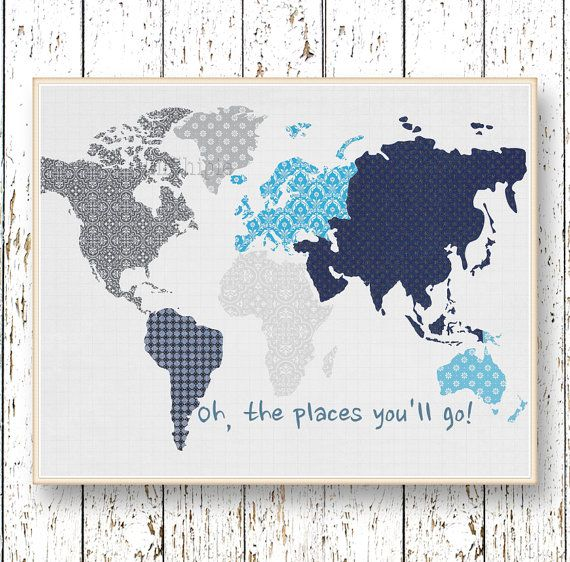 Oh, the Places you'll Go! Dr Seuss Family Room playroom print - Kids wall art World map Blue navy gray and blue art bedroom art for children