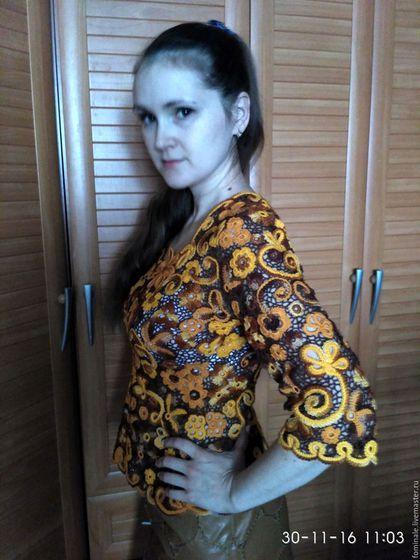 Купить или заказать 10 Кофточка 'Осень' в интернет-магазине на Ярмарке Мастеров. Кофточка коричнево-рыжых тонах связана в технике ирландского кружева.Прекрасно комбинируется с юбочками и брючками.Красивая и стильная.Привлекает внимание.Пряжа хлопок,очень приятная для тела.