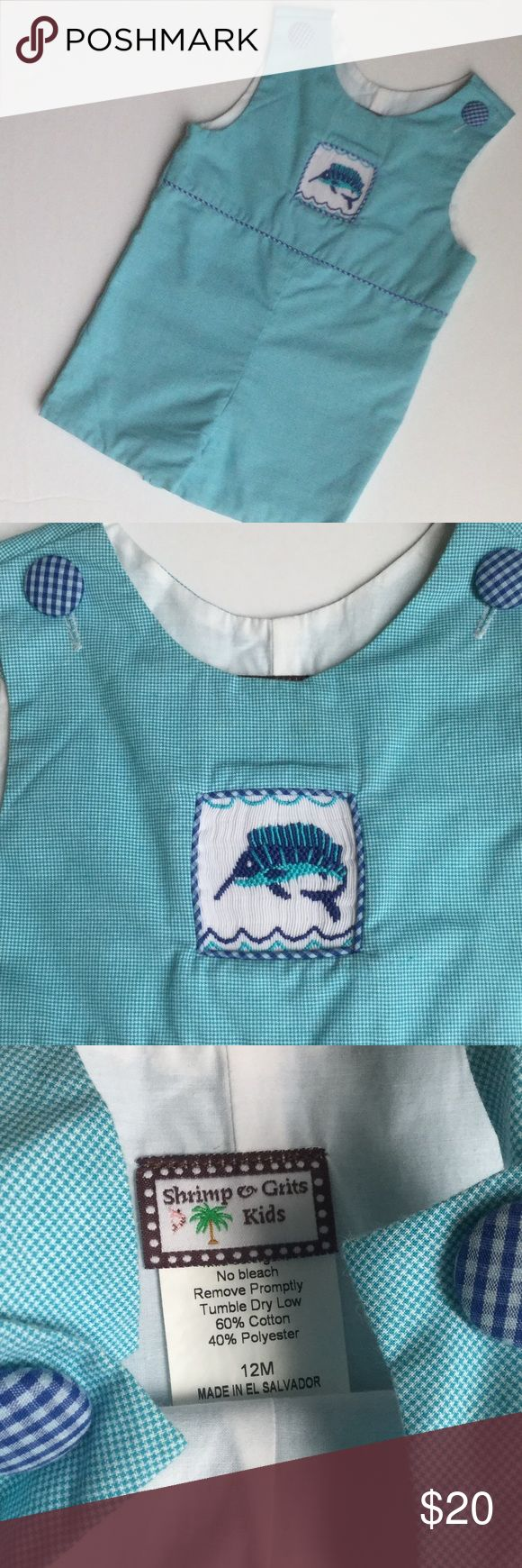 Shrimp and grits kids shortall Beautiful blue checked shortall with complimenting buttons & waist trim, smocked marlin. Shrimp and grits kids. Size 12 months. Check out other listings, bundle and save! Shrimp & Grits Kids  One Pieces