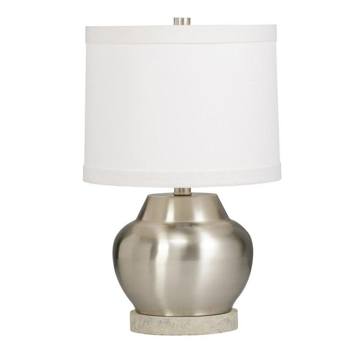 brushed nickel table lamp dimensions inches high x inch diameter