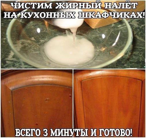 Как легко отчистить кухню от жирного налета: Вам потребуется сода и подсолнечное масло (1,5:1), развести как сметану, средней густоты.