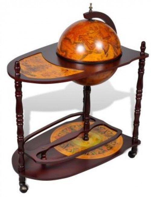 globe bar cabinet wtable trolley old style map mini wine liquor storage stand