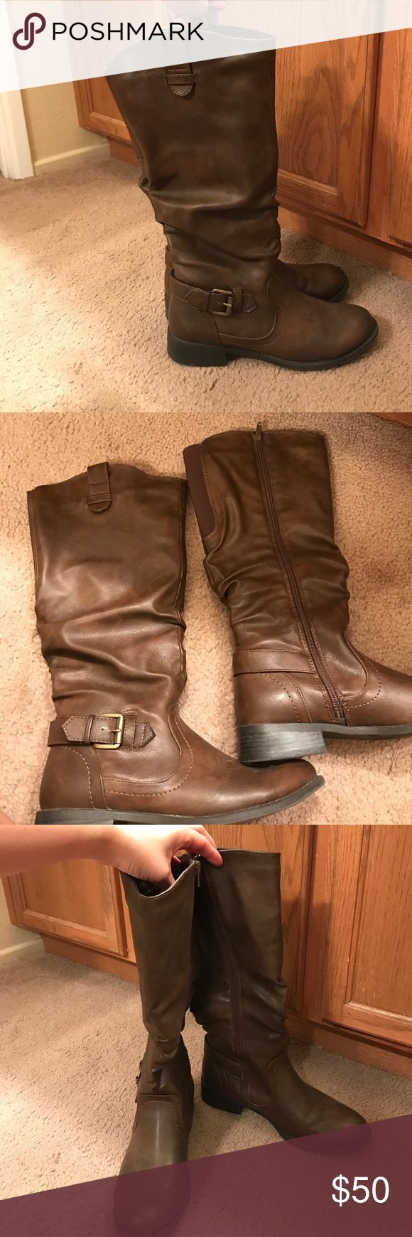 Tall brown boots Size 8, tall brown boots. Super comfortable, only worn once because they don't fit. In perfect condition. Target  Shoes Combat & Moto Boots