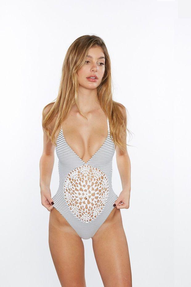 Frankies Bikinis - Poppy One Piece   Hamptons Crochet Swimsuit