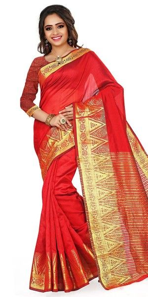 Teriffic Red Cotton Saree With Blouse.