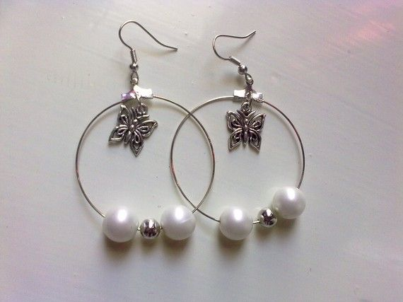 Hoops with white & metallic silver tone beads by KaterinakiJewelry