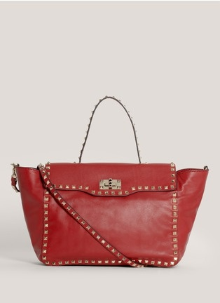 Valentino - Rock-stud flap satchel | Red Day Shoulder Bags
