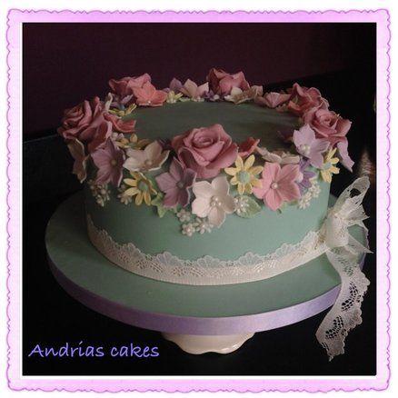 Chic and Dainty Cake!  All flowers handmade