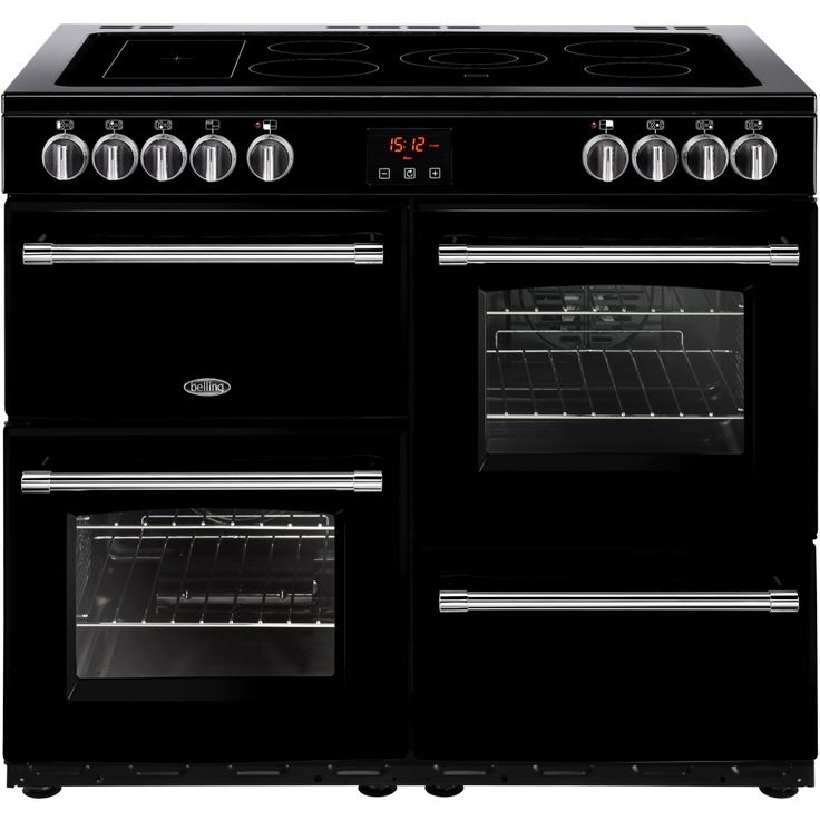 Belling Farmhouse 100E Electric Ceramic Range The Belling Farmhouse 100E is an electric range cooker that in its black finish will look ideal in your kitchen. With three cavities, you will be able to get plenty out using the grill and both ovens  http://www.MightGet.com/february-2017-2/belling-farmhouse-100e-electric-ceramic-range.asp