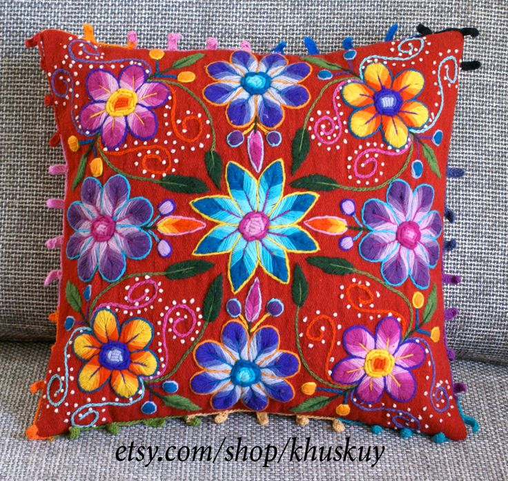 Red Boho Flower Pillow cover Peruvian embroidered Sheep &