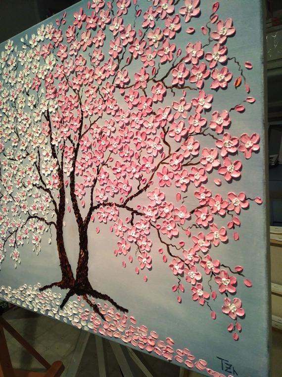 Cerezo Flor Arbol Pintura Original Pintura De Impasto Al Etsy Cherry Blossom Painting Acrylic Cherry Blossom Painting Tree Painting