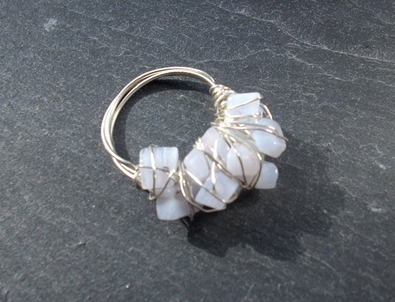Blue cocktail gemstone wire wrapped ring by Ministryofshiny, £10.00: Gemstone Wire, Cocktails Gemstone