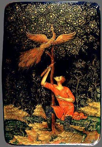 Kholui lacquer box, The Firebird