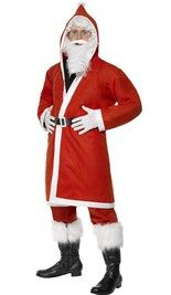 #Kerstman #outfit, bestaat uit lange jas met capuchon, baard en riem
