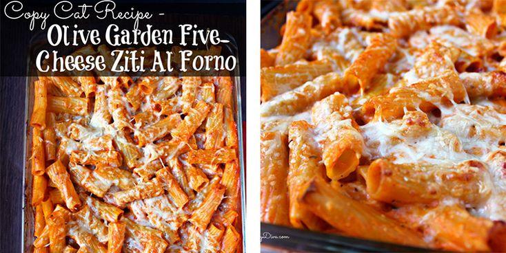 Copy Cat Recipe – Olive Garden Five-Cheese Ziti Al Forno http://getdailyrecipes.com/2014/10/28/copy-cat-recipe-olive-garden-five-cheese-ziti-al-forno/