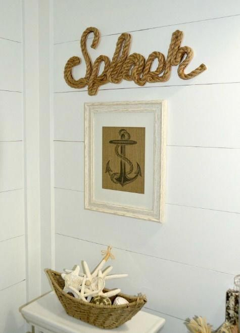 Nautical Beach Bathroom with Shiplap Walls