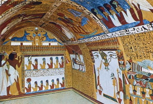 Wall paintings sennedjem 39 s tomb dayr al madinah egypt for Ancient egyptian tomb decoration