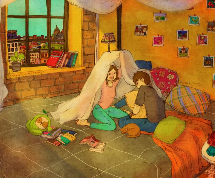 """♥ """"C'mon, let's play tents under my blanket... It'll be F-U-N ! """" ♥ by Puuung at www.grafolio.com ♥"""