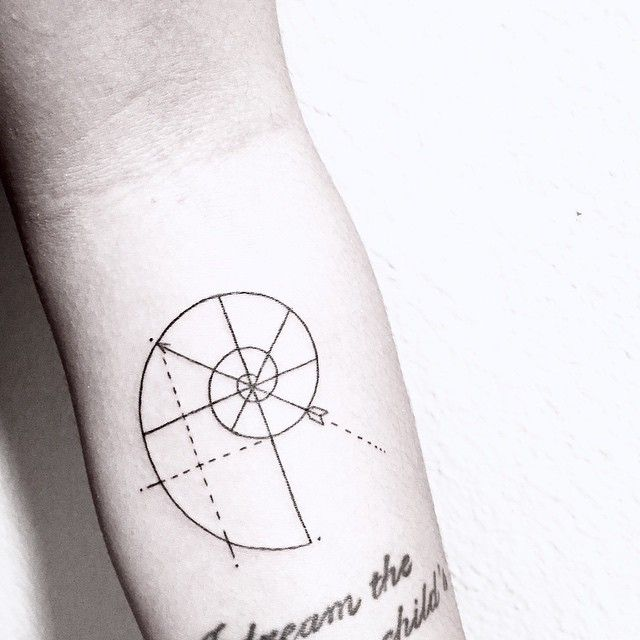 [ personal Fibonacci ] spiral composition design including Amanda's love for archery and photography • forearm addition