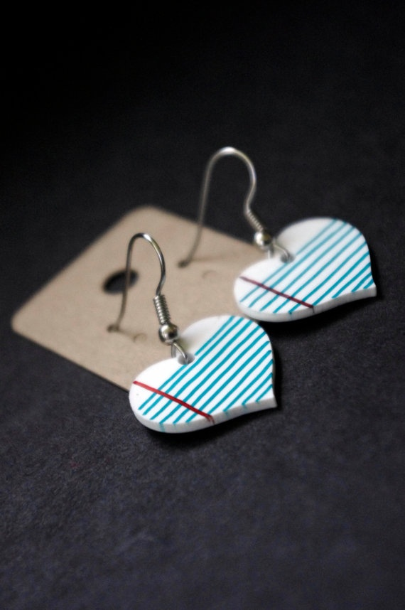 Love Note Heart Shrink Plastic Earrings by Cyclop on Etsy, $14.00