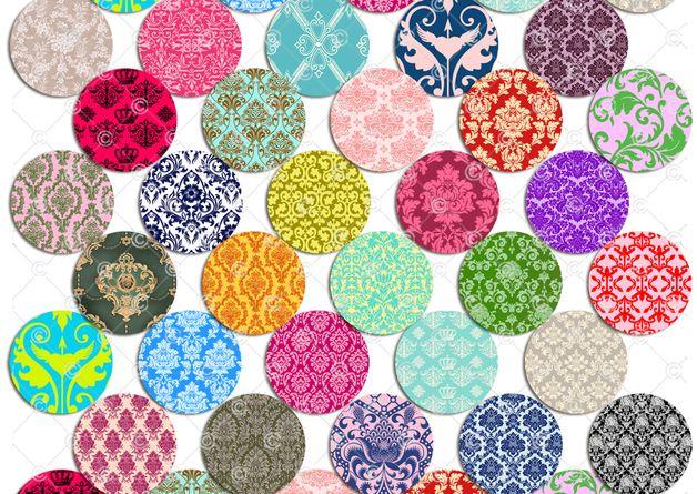 30 verschiedene digitale Vorlagen  mit Damast-Mustern.  Die Bilder sind ideal für die Herstellung von Cabochons für Cabochonschmuck, Buttons, Magneten, Druckknöpfen, easy Buttons, Chunks,...