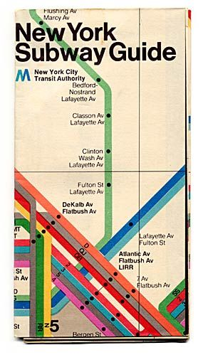 NYC subway map designed by Massimo Vignelli, 1972 (Brooklyn on the cover! Woo!)