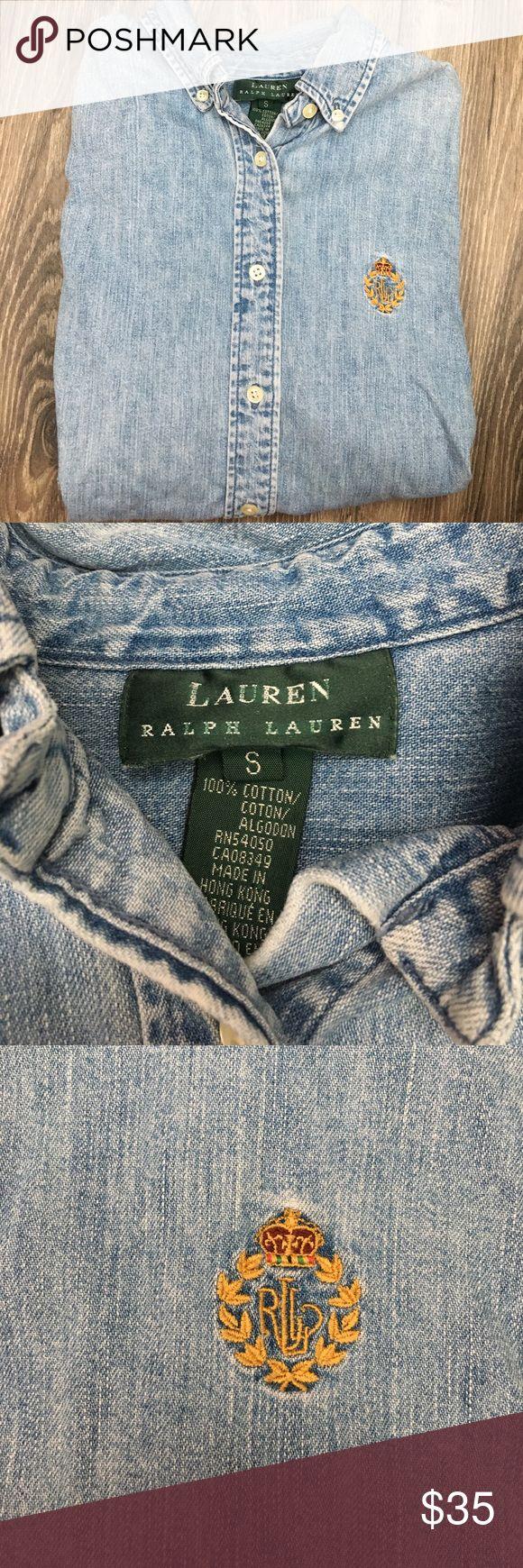 Vintage Ralph Lauren Denim Button-up Vintage Ralph Lauren woman's denim button-up shirt with embroidered logo. Size woman's small but runs a little bigger. In great condition! Ralph Lauren Tops Button Down Shirts