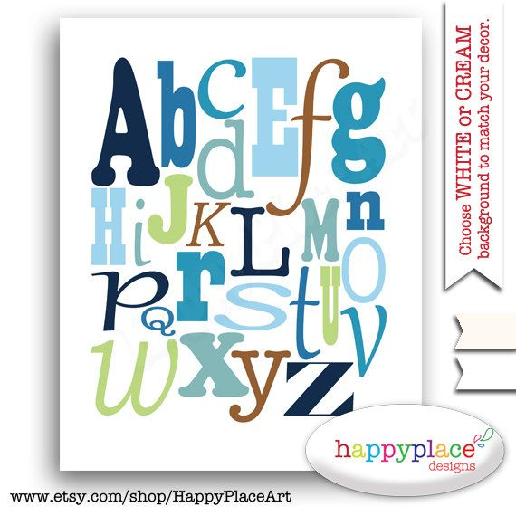 ABC Alfabeto de impresión azul arte de guardería por HappyPlaceArt