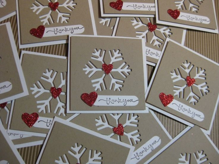 Thank-you notecards ... winter theme ... sweet little kraft squares with negative die space from snowflake die cut ...