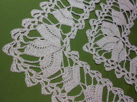 Pretty motif strip or edging/trim to crochet!! Orilla # 7 esquina de 3 abanicos