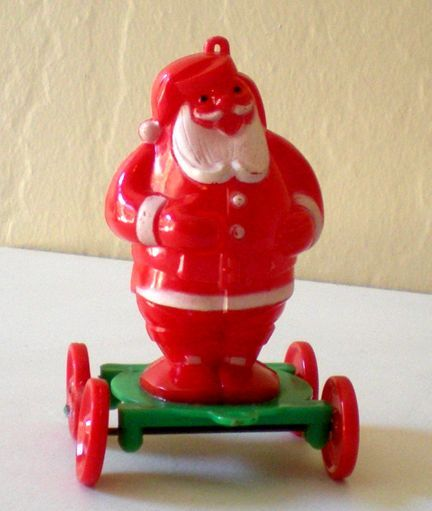 antique plastic santa on rollers | Vintage Rosbro Plastic Santa Claus on Wheels from californiagirls on ...