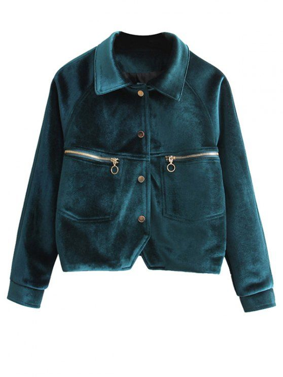 Zipper Embroidered Velvet Jacket - BLACKISH GREEN M Mobile