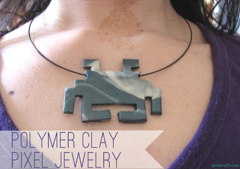 Polymer clay pixel jewellery, cool!