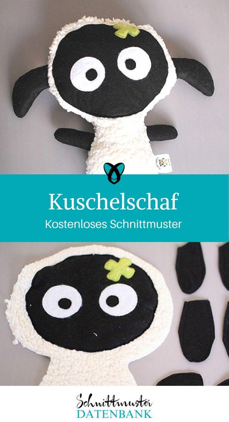 Kuschelschaf nähen kostenloses Schnittmuster Geschenk Baby Kuscheltier Nähanleitung Freebook