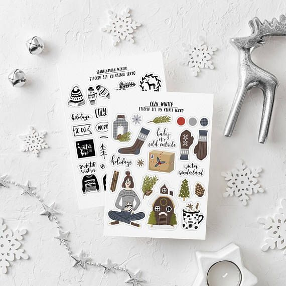 Christmas Stickers Kit / Winter Sticker / Scandinavian /