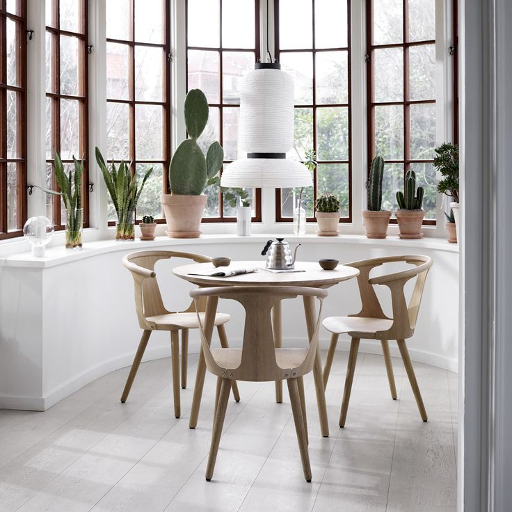 In Between Chair SK1 and In Between Table SK4 in white oiled oak by Sami Kallio for &tradition styled with Formakami pendant JH3