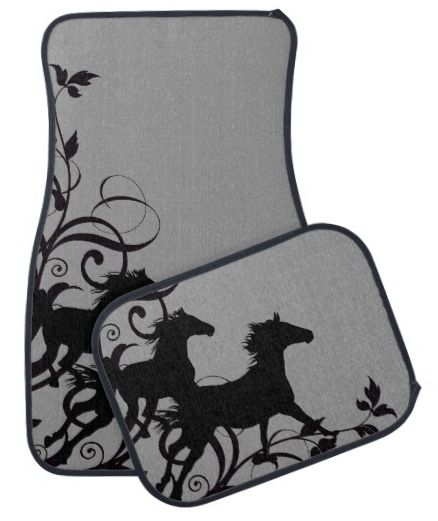 Horse Lover Car Mats - Stylish equestrian themed car or truck floor mats with grey and black galloping horses pattern printed on the front.