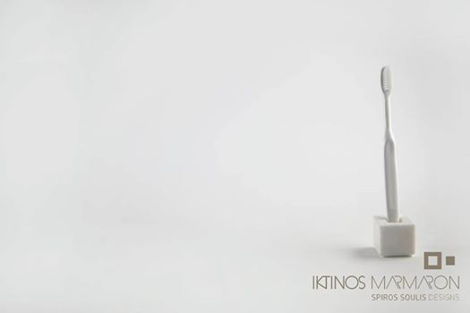 Toothbrush Holder made out of Thassos Marble, designed by Spiros Soulis for Iktinos Marmaron.