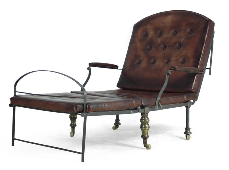 Steel Brass and Leather Victorian Campaign Chair