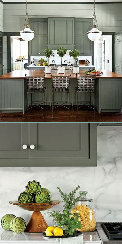 Cabinetry and island are painted Sherwin Williams Pewter Green SW6208. The wall color is Oyster Bay SW6206, and the ceiling is Spare White SW6203. island countertop: Heritage Wood in Black Walnut; 2013 Southern Living Idea House