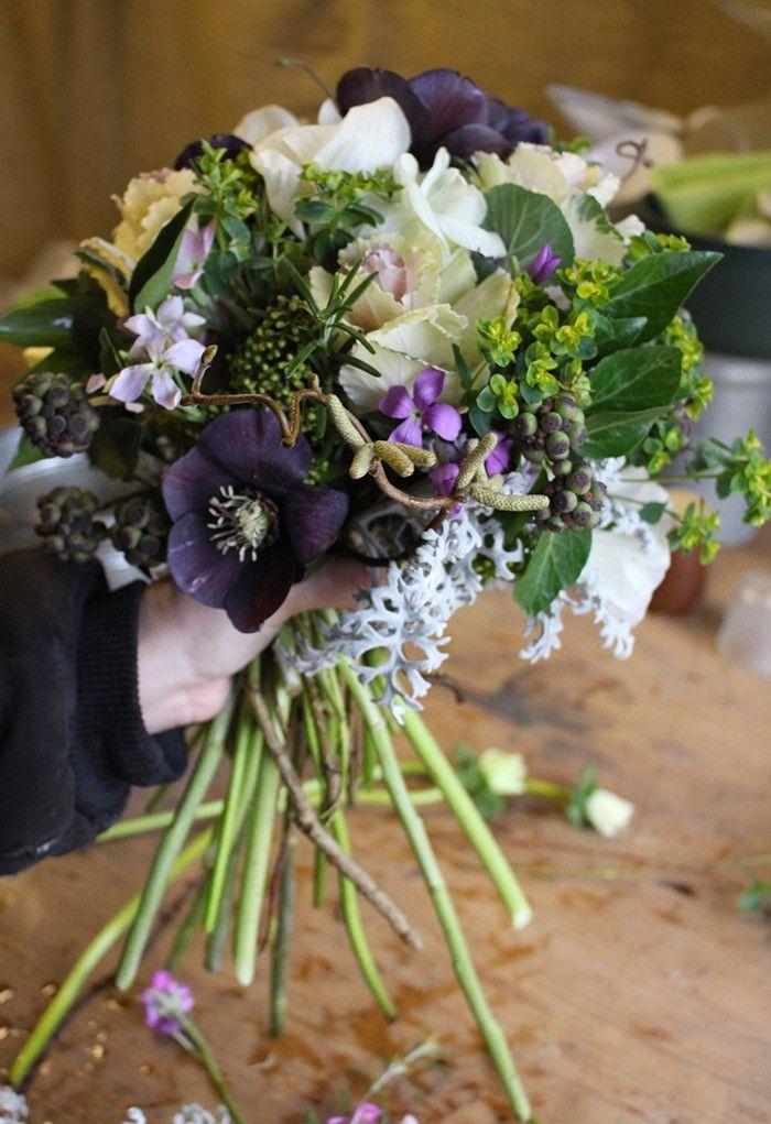 English seasonal bouquet in February. Gardenista  make hellebores last longer
