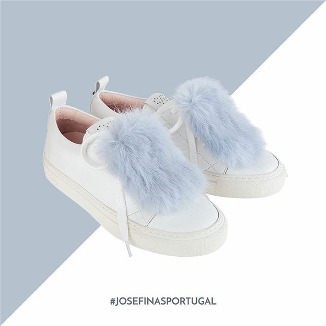 #Josefinas Louise White with Sky Blue Fur ❤️ #josefinasportugal #sneakers #shoes
