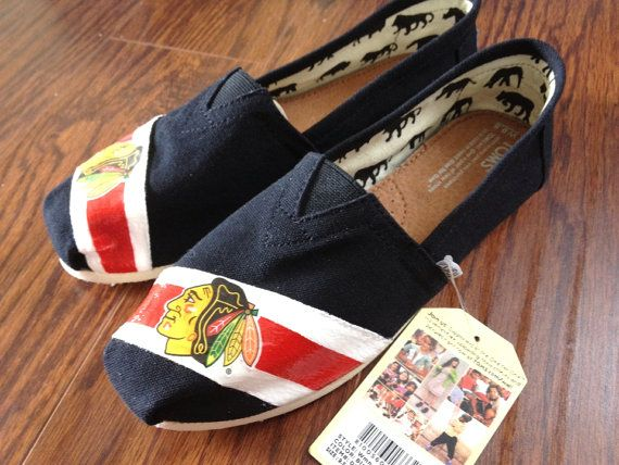 Custom decorated Toms with Chicago Blackhawk by Glamoricious